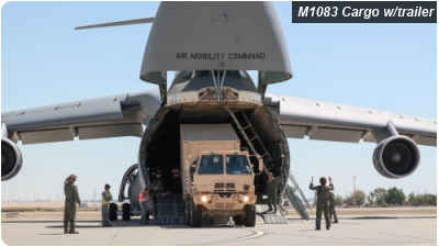 C-5B Galaxy unloading M1083 Standard Cargo Truck with trailer